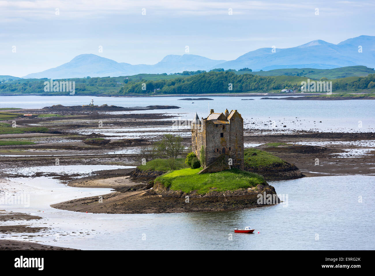 Stalker Castle on Loch Linnhe, 14th Century highland fortress of MacDougall clan at Appin, Argyll in the Highlands - Stock Image
