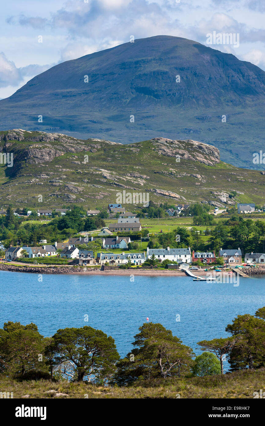 Shieldaig coastal town by Loch Torridon in the Ross and Cromarty region of the North West Highlands of SCOTLAND - Stock Image