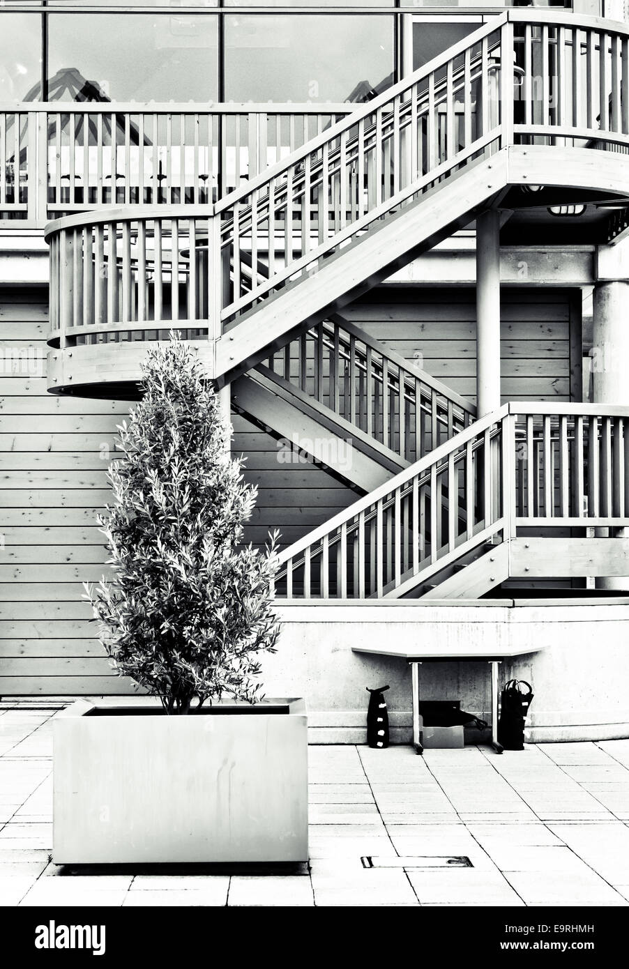 Modern architecture in black and white tones - Stock Image