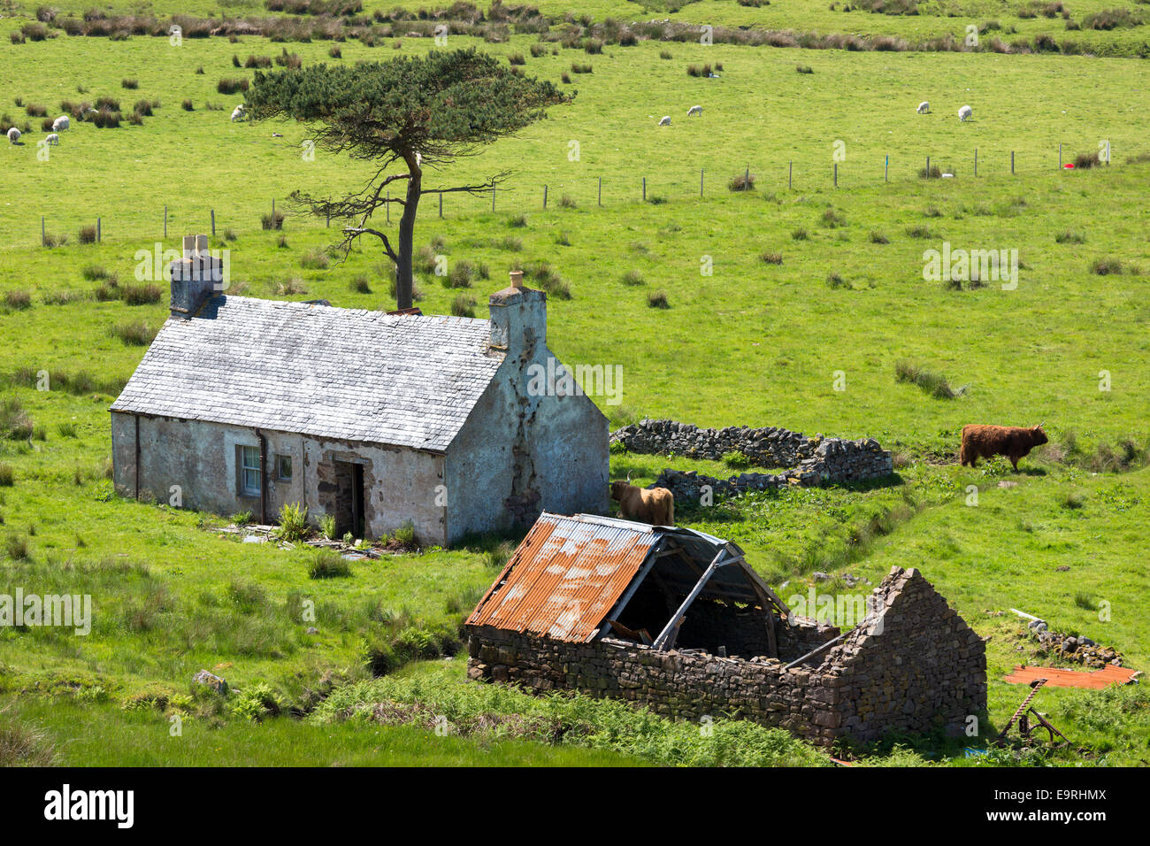 Derelict farm and barn at Kalnakill near Applecross, Wester Ross in the Scottish Highlands - Stock Image