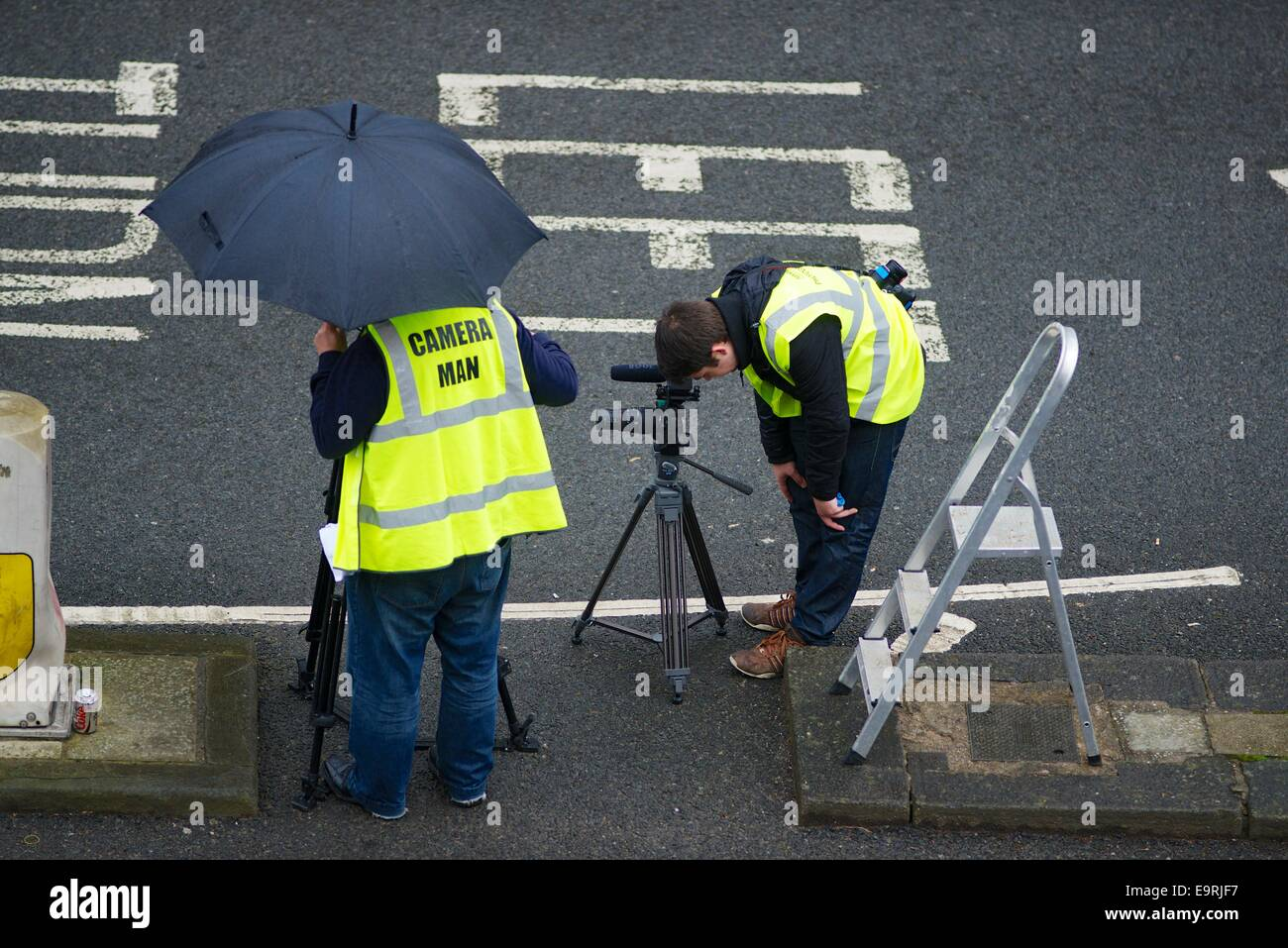 Official Cameramen at Bath Half Marathon - Stock Image