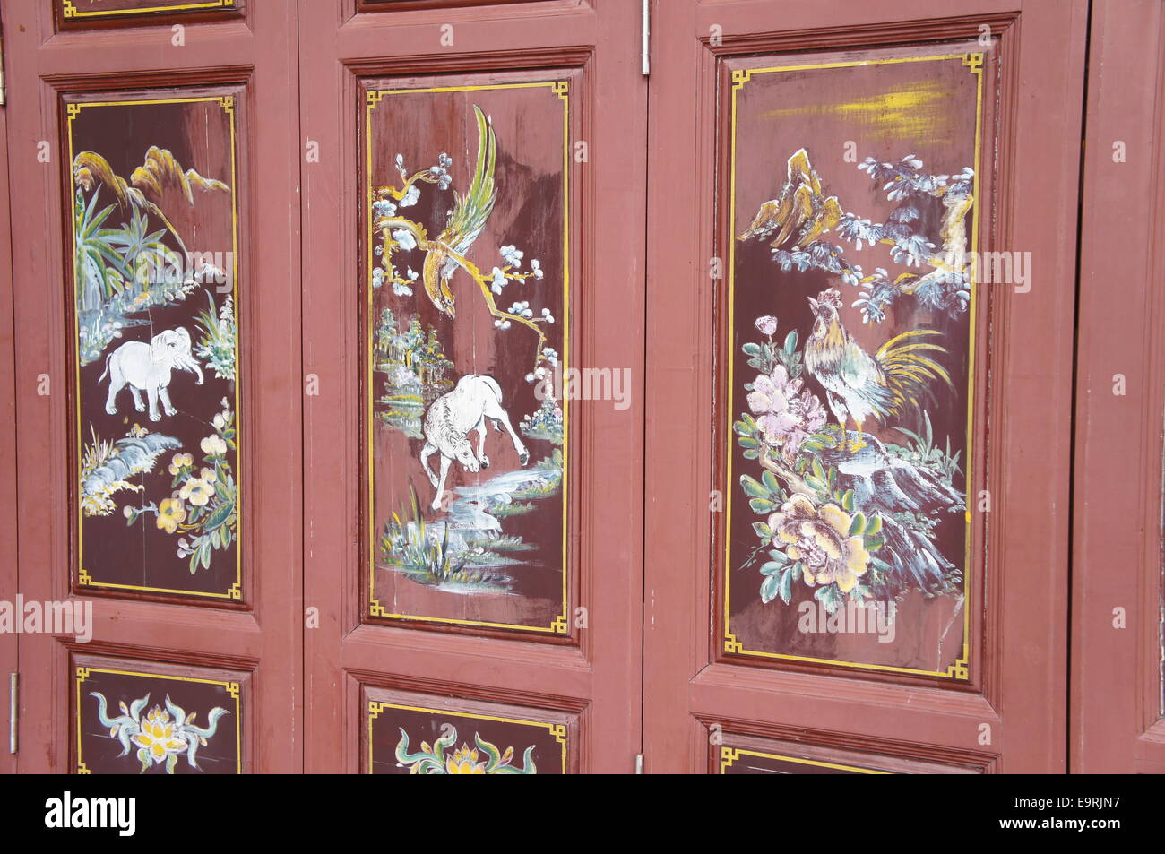 Chinese traditional art painted on door of temple - Stock Image