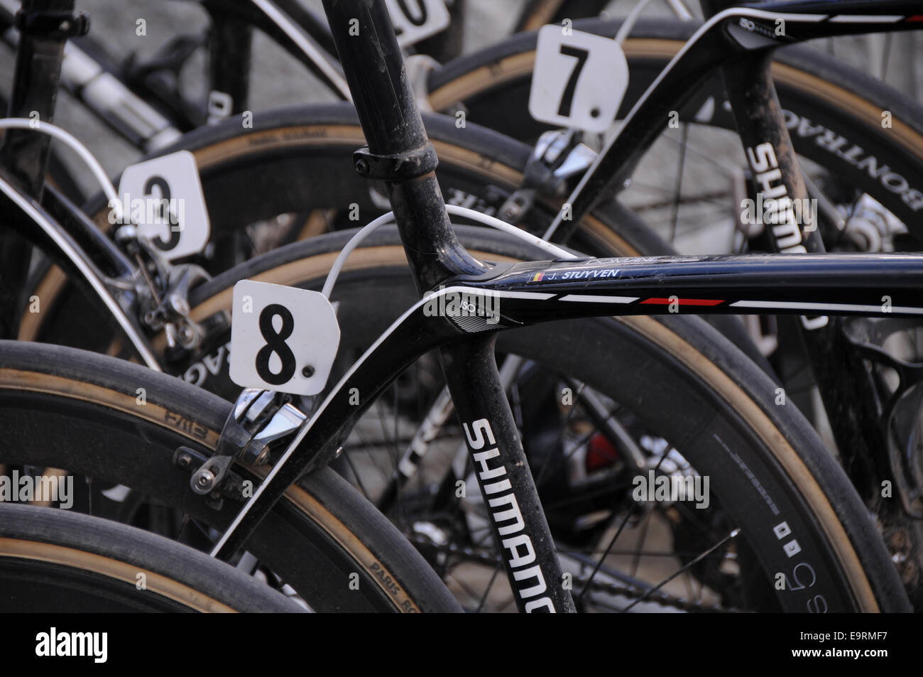 Team Trek race bikes ready for a workover after the Paris Roubaix 2014 spring cobble classic cycle race - Stock Image