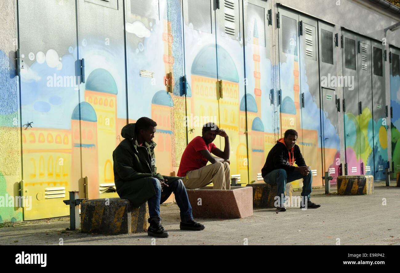 Munich, Germany. 31st Oct, 2014. Refugees from Eritrea in the reception center for asylum seekers on the Bavaria Stock Photo