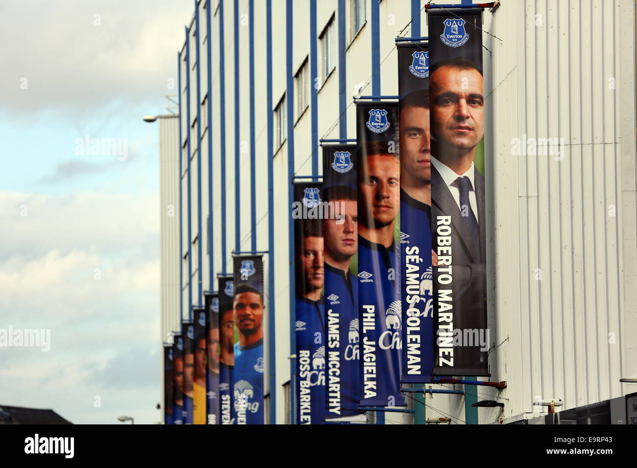Liverpool, UK. Saturday 01 November 2014  Pictured: Banners with images of Everton manager Roberto Martinez and Stock Photo