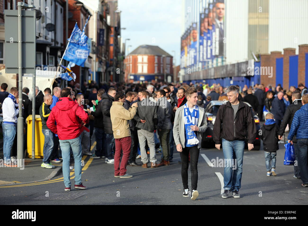 Liverpool, UK. Saturday 01 November 2014  Pictured: A crowd of Everton fans outside goodison Park.  Re: Premier Stock Photo