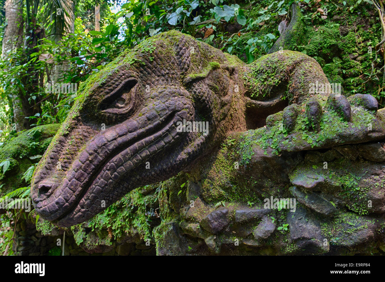 Stone carving of a komodo dragon sacred monkey forest