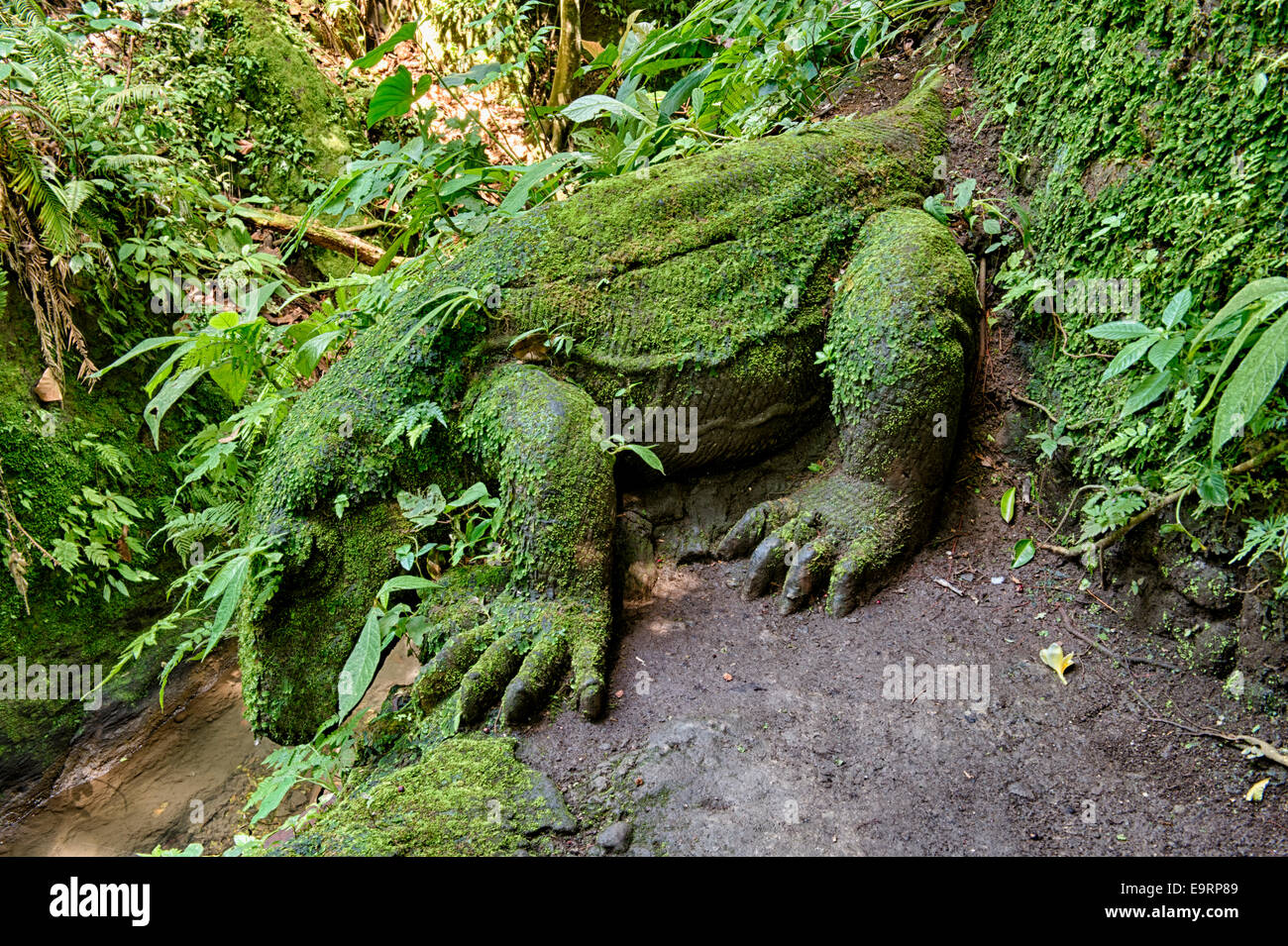 Stone carving of a Komodo Dragon, Sacred Monkey Forest, Ubud, Bali, Indonesia - Stock Image