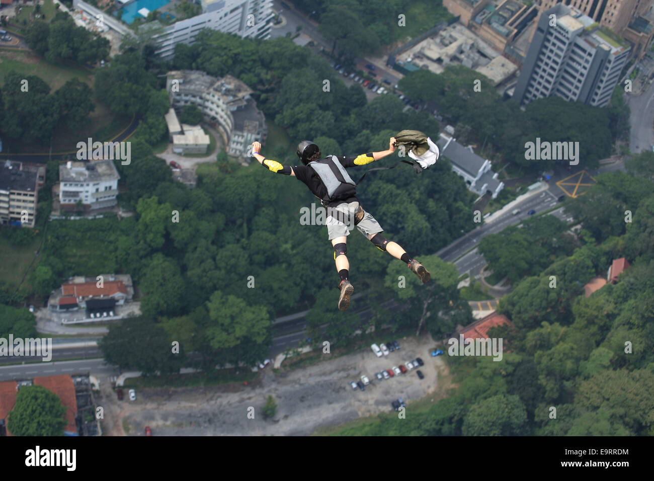 KL Tower BASE Jump 2014 is an annual event of the Kuala Lumpur tower which have attracted international and domestic - Stock Image