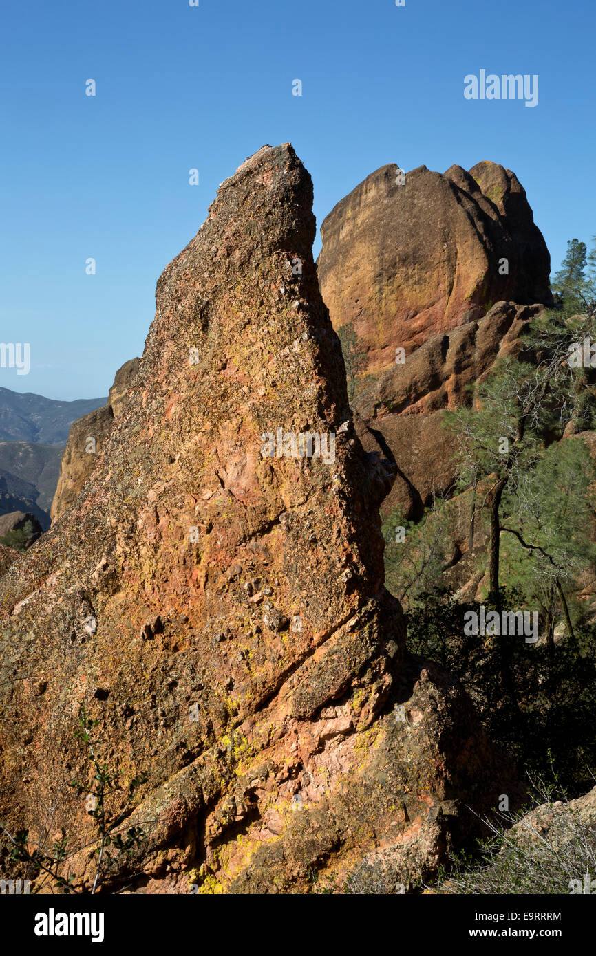 CA02376-00...CALIFORNIA - Rock spires in the High Peaks area from the High Peaks Trail in Pinnacles National Park. - Stock Image