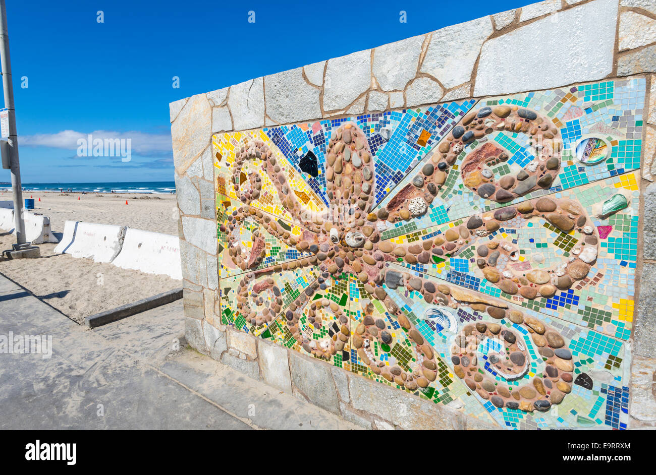 Octopus wall art Located next to the Pacific Beach Lifeguard Stock