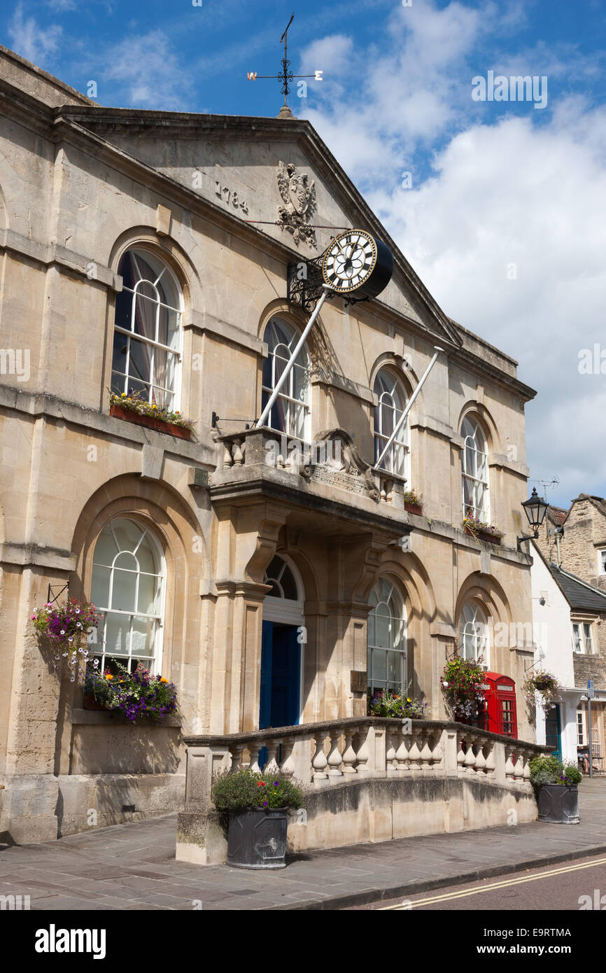 The front facade of Corsham Town Hall in Corsham, Wiltshire Stock Photo