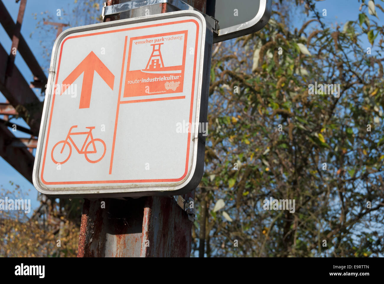 cycle route sign for the route der industriekultur, or industrial heritage route, landschaftspark, duisburg, germany - Stock Image