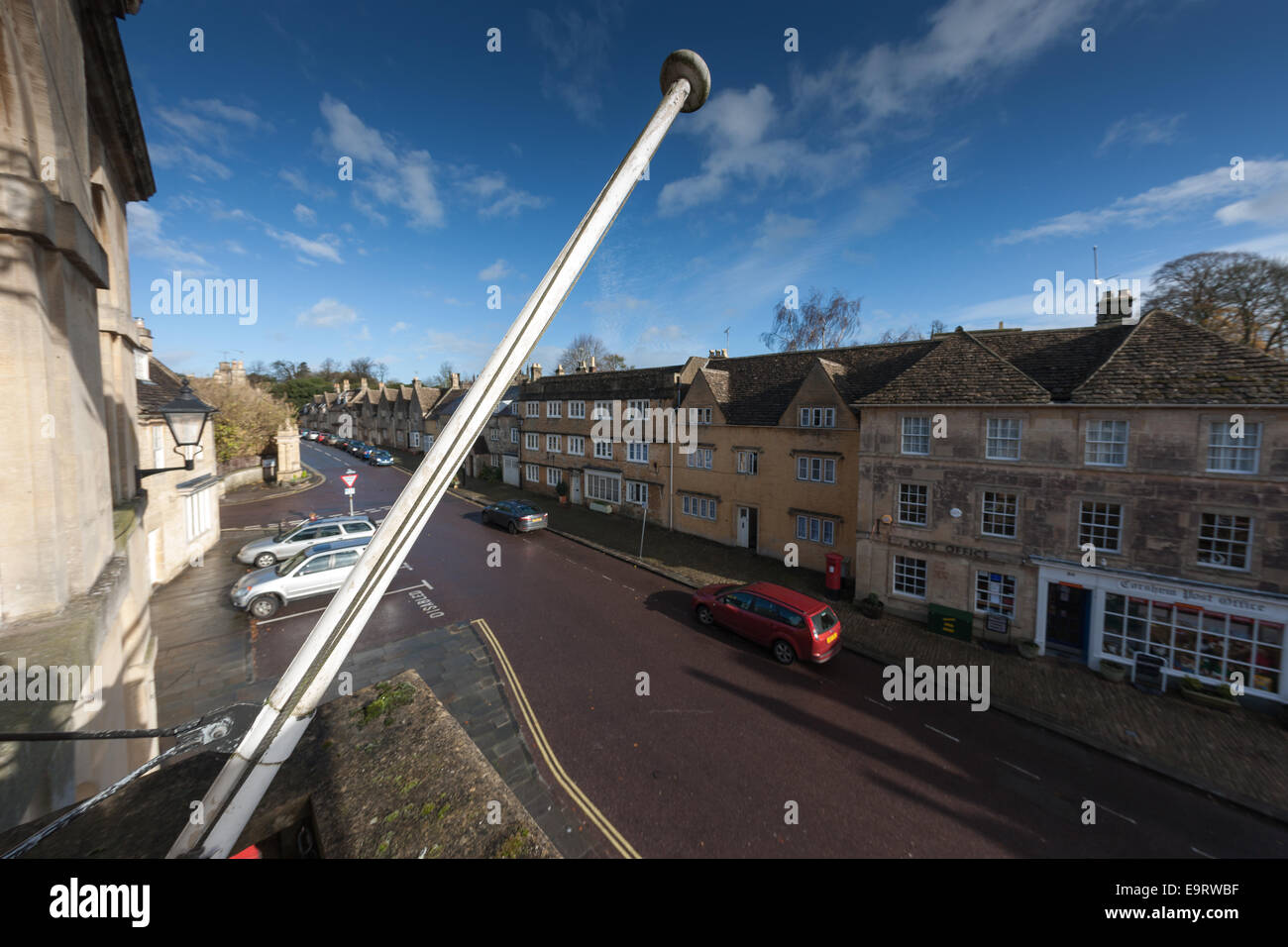 View of Corsham High Street from the balcony of the town hall Stock Photo