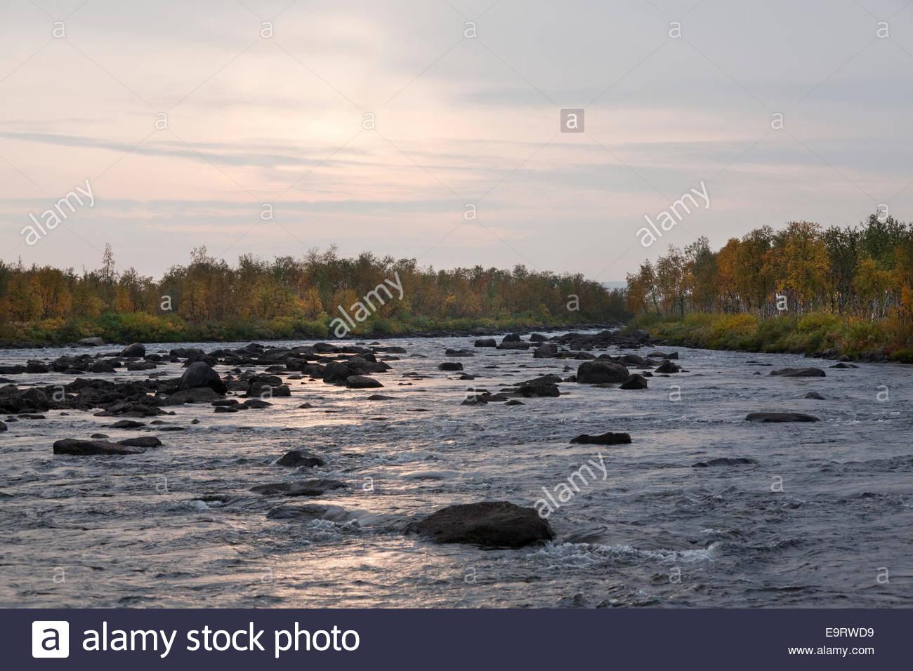 An evening by Könkämäeno border river in Finnish Lapland - Stock Image