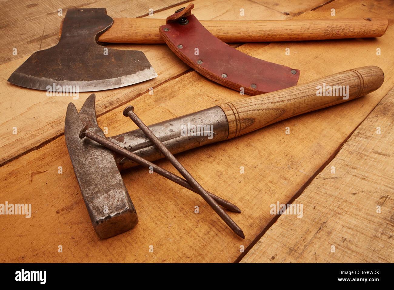 Hammer und Axt Stock Photo