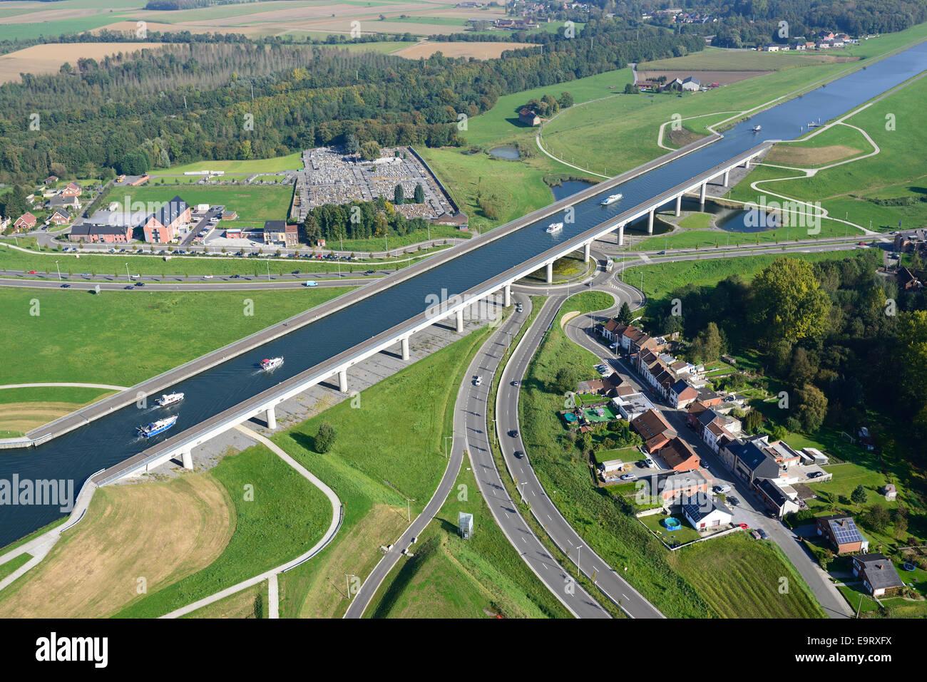 Pont Canal Du Sart Aeriel View Province Of Hainaut