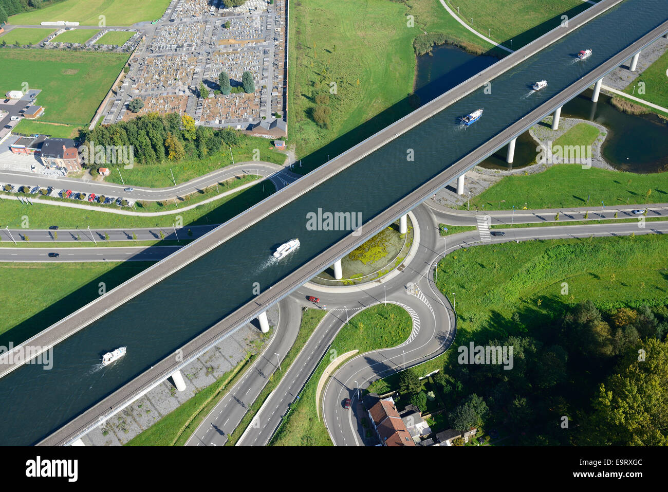 Pont Canal Du Sart Aerial View Province Of Hainaut