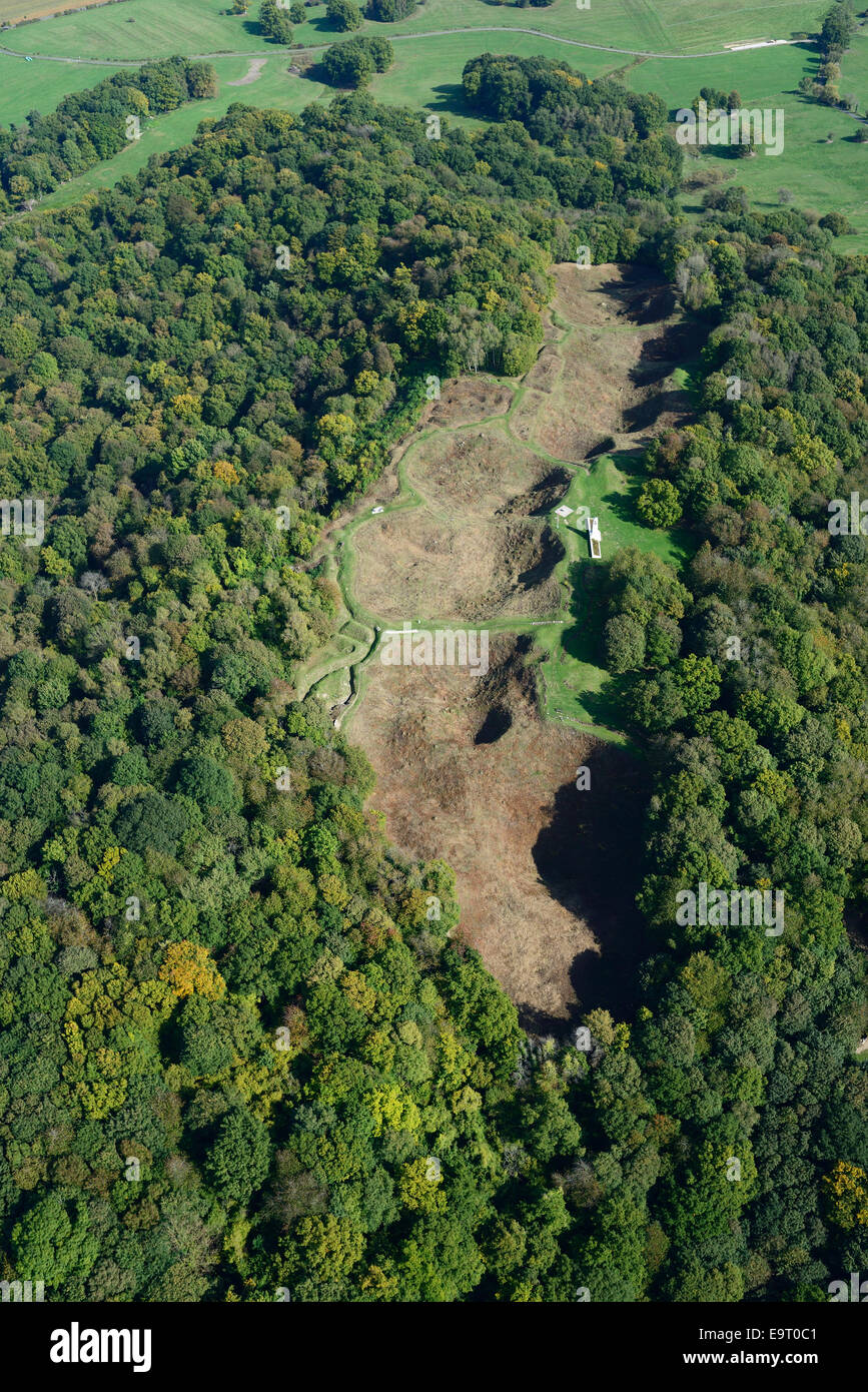 WORLD WAR I MINE CRATERS (aerial view). Vauquois butte, Meuse, Lorraine, France. - Stock Image