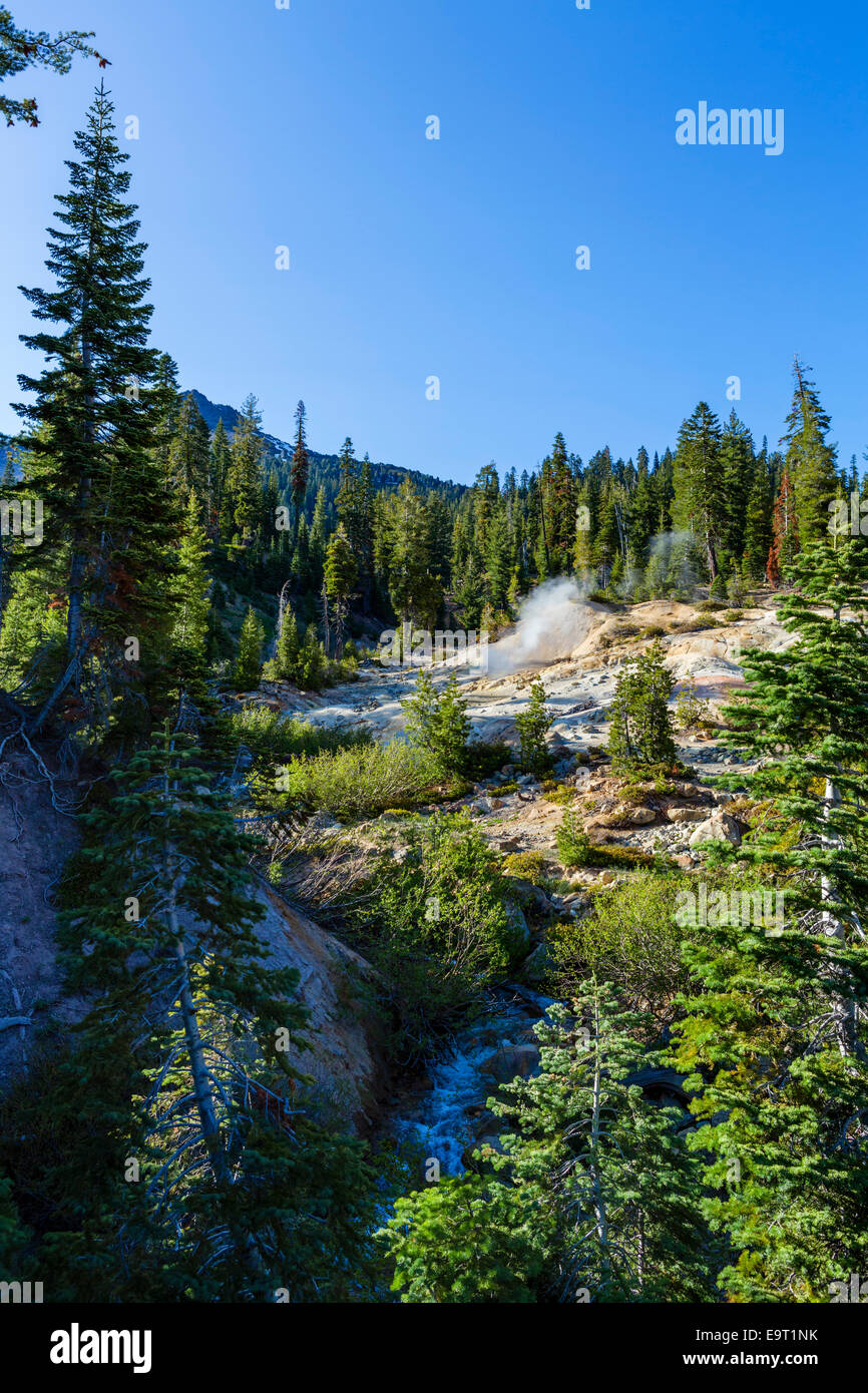 Hot springs and fumaroles at the Sulphur Works geothermal area, Lassen Volcanic National Park, Northern California, - Stock Image