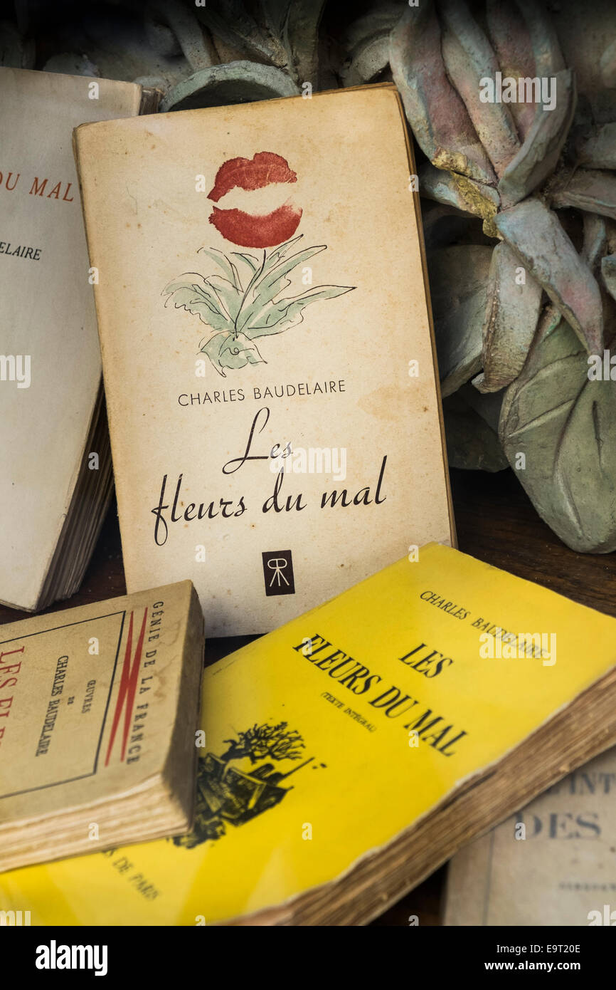 several antiquarian editions of charles baudelaires book of poems les fleurs du mal, the flowers of evil - Stock Image