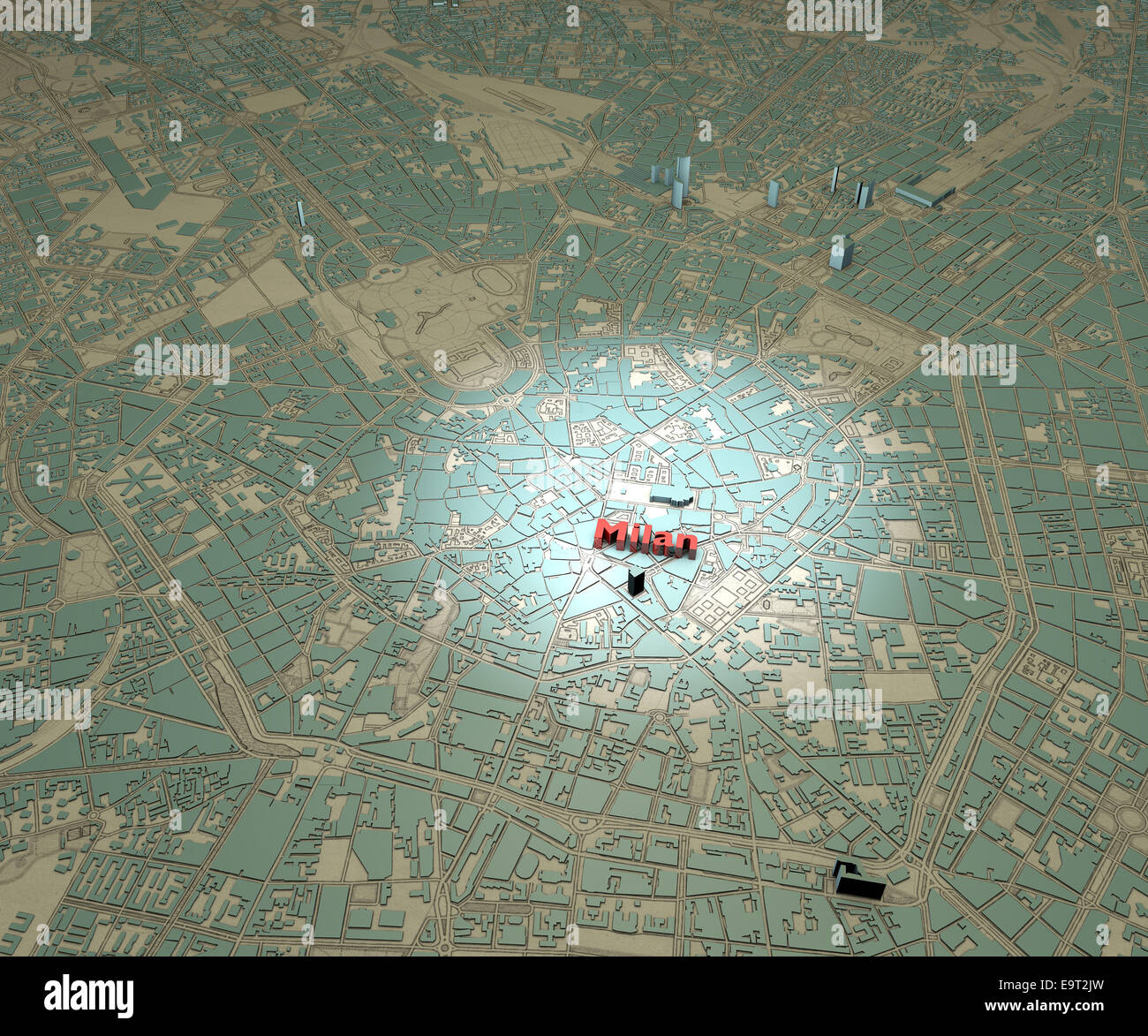 Map of downtown Milan, Italy Stock Photo: 74902321 - Alamy