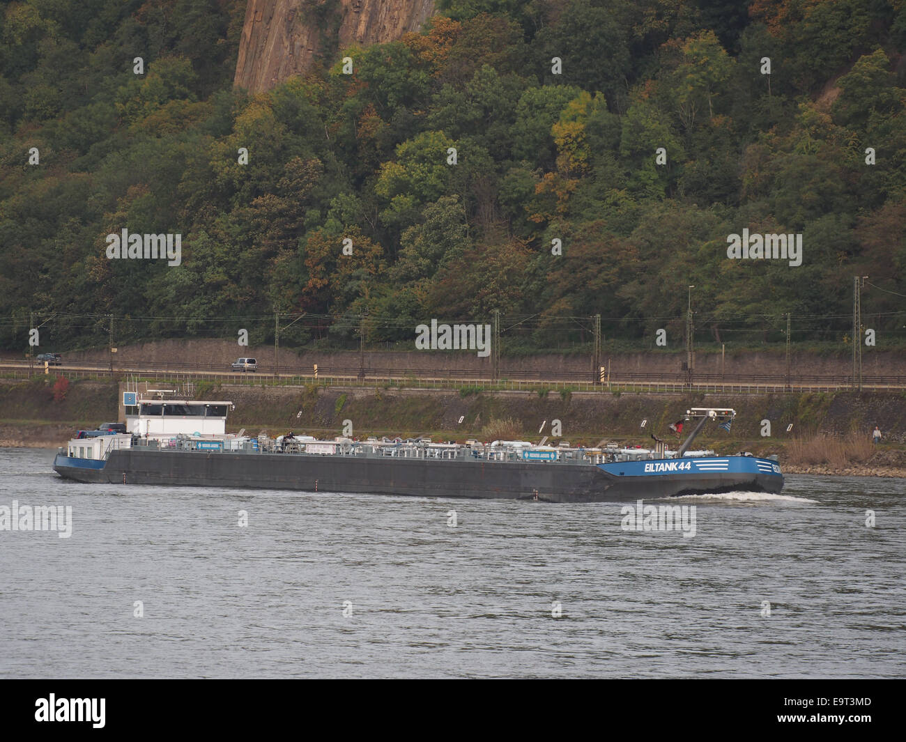 Eiltank 44, ENI 04804180 on the Rhine river at Koblenz, pic1 - Stock Image