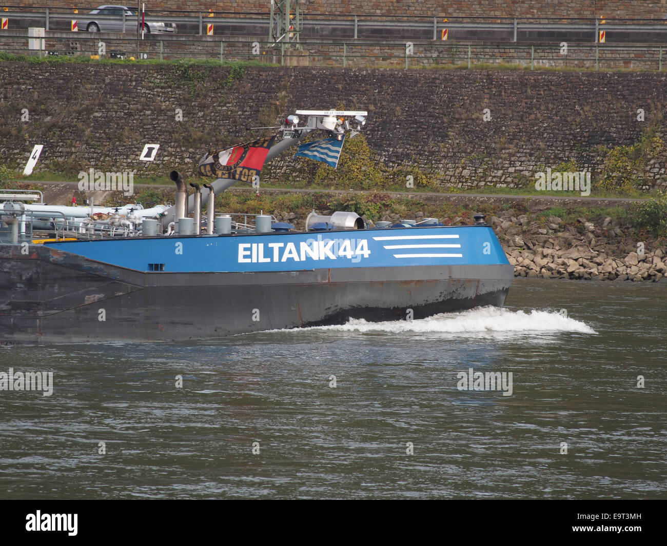 Eiltank 44, ENI 04804180 on the Rhine river at Koblenz, pic2 - Stock Image