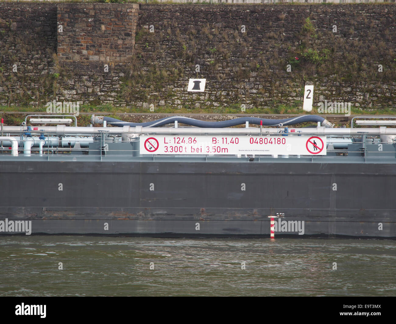 Eiltank 44, ENI 04804180 on the Rhine river at Koblenz, pic4 - Stock Image