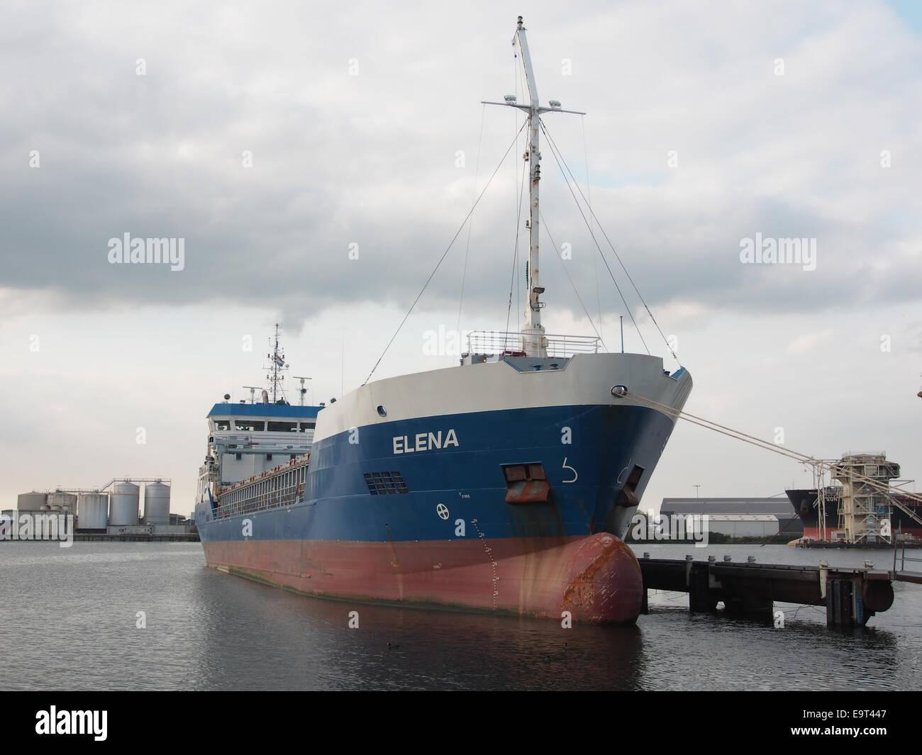Elena, IMO 9574315 at the Mercuriushaven, Port of Amsterdam, pic1 - Stock Image