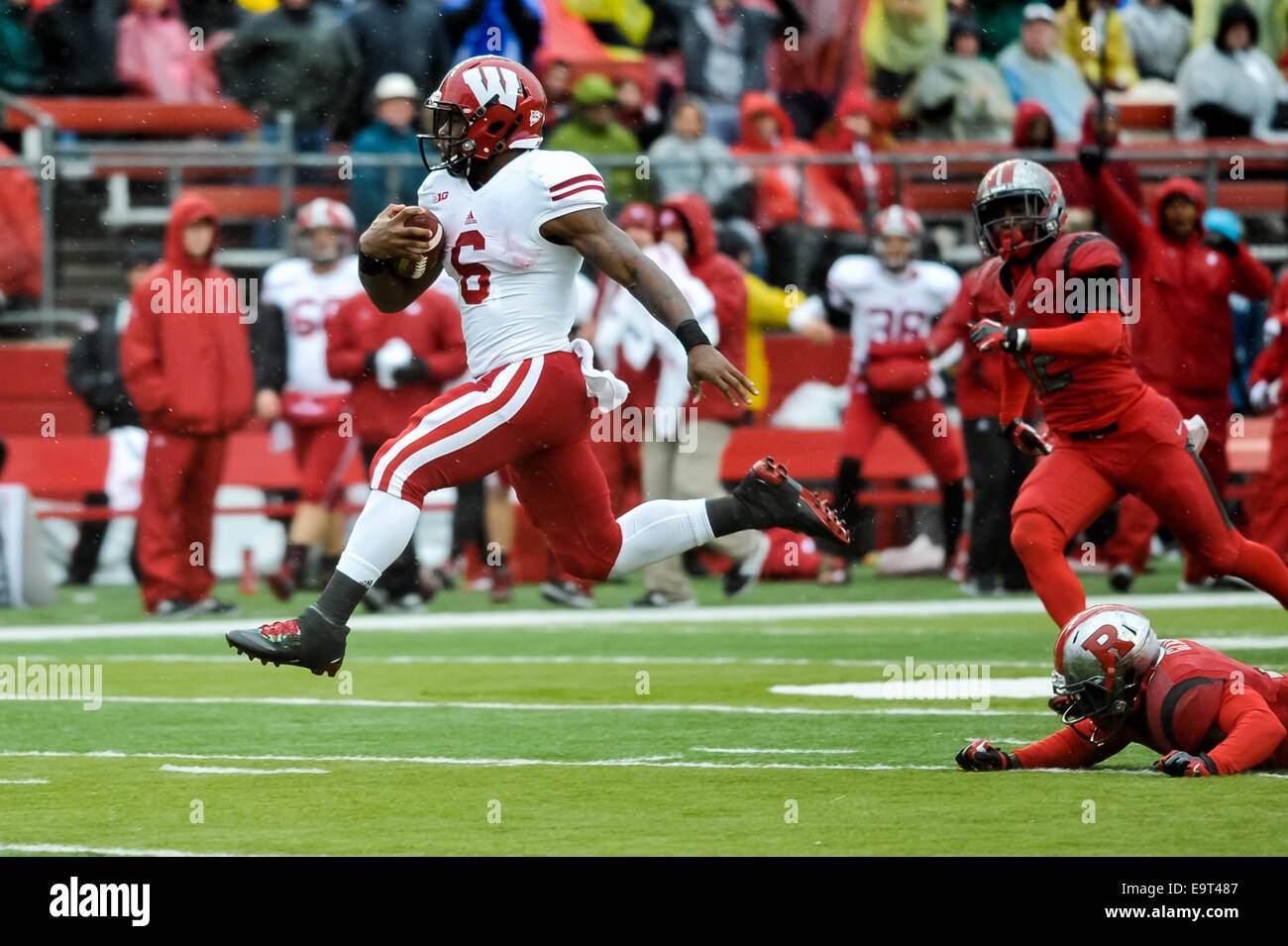 Piscataway, New Jersey, USA. 1st Nov, 2014. Wisconsin running back, COREY CLEMENT (6), breaks free from the Rutgers - Stock Image