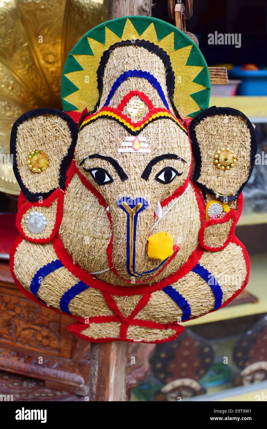 Ganesha Ganapathi Hindu God Handcraft Made In Kerala India Stock