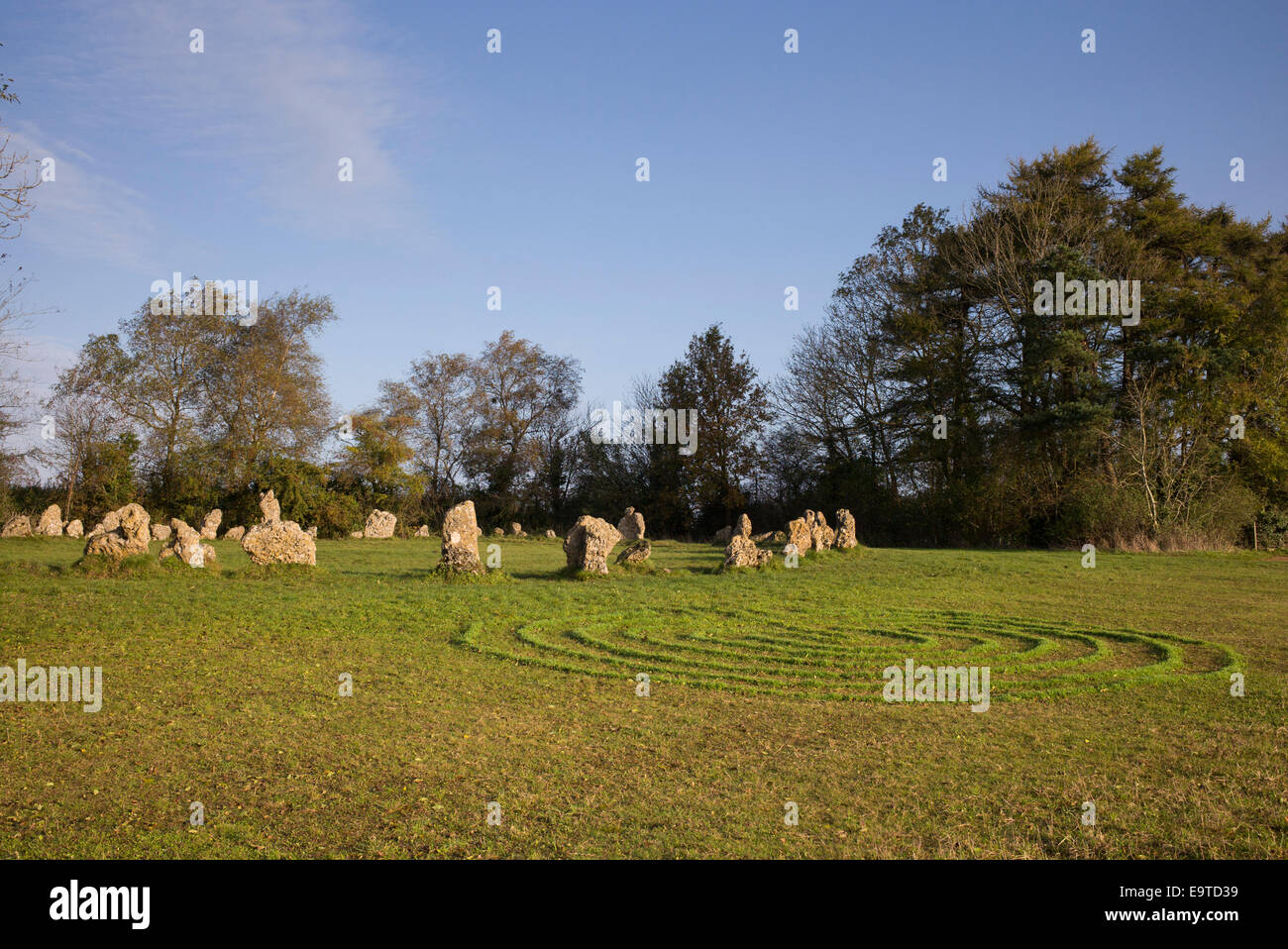 Labyrinth symbol planted with grasses at The Rollright stones, Oxfordshire, England. - Stock Image