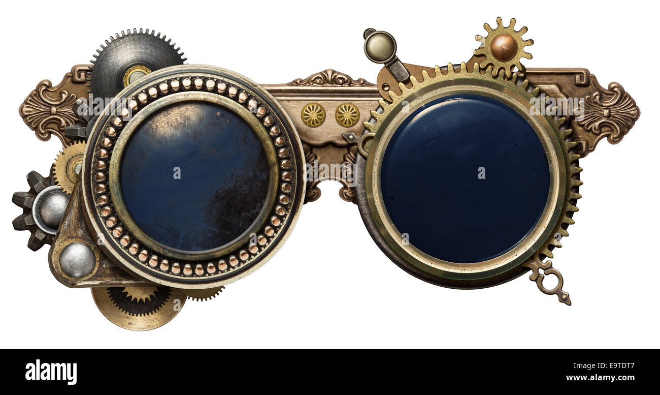 Steampunk glasses metal collage, isolated on white - Stock Image