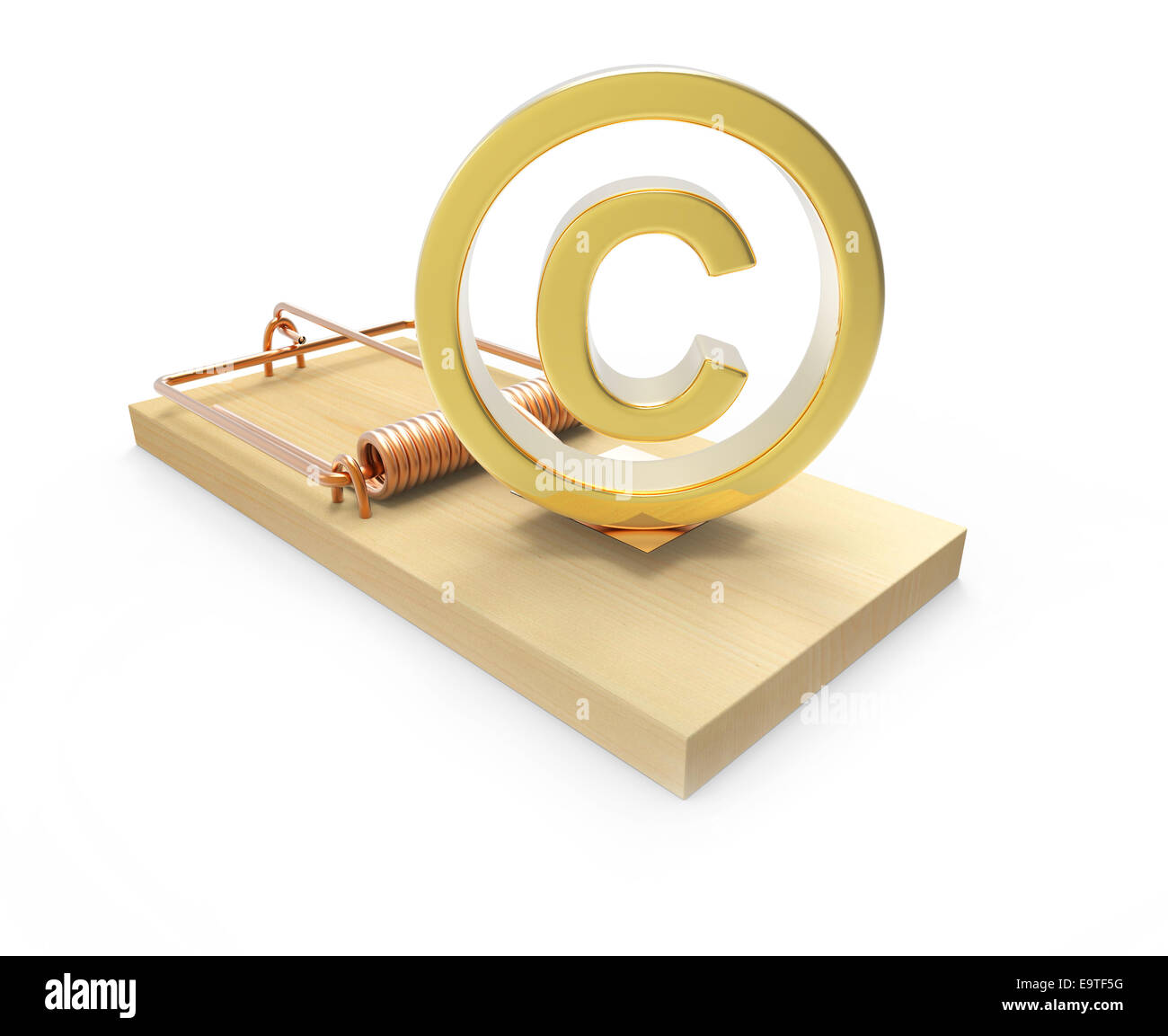 3d Render Of A Copyright Symbol In A Mousetrap Stock Photo 74912140