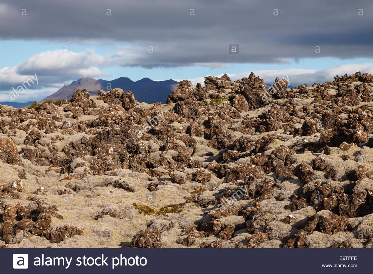 Barnaborgir, a lava field at the entrance of the Snæfellsnes peninsula - Stock Image