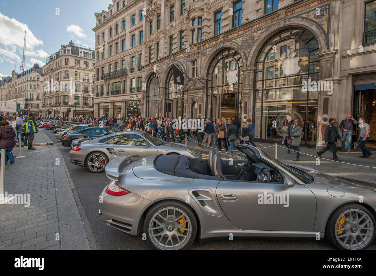 Porsche Cars Line Up On The World Famous West End Shopping Street
