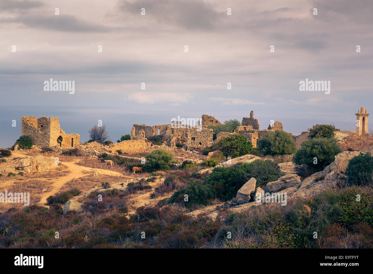 View on the ruins of Occi, Corsica - Stock Image