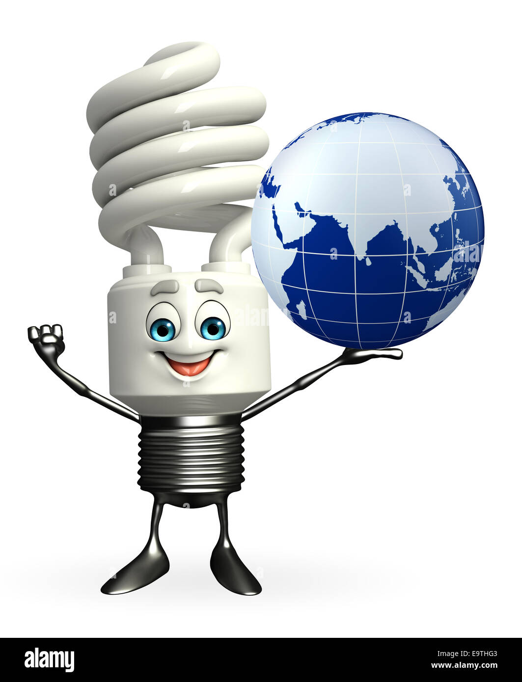 Cartoon Character of CAL with globe - Stock Image