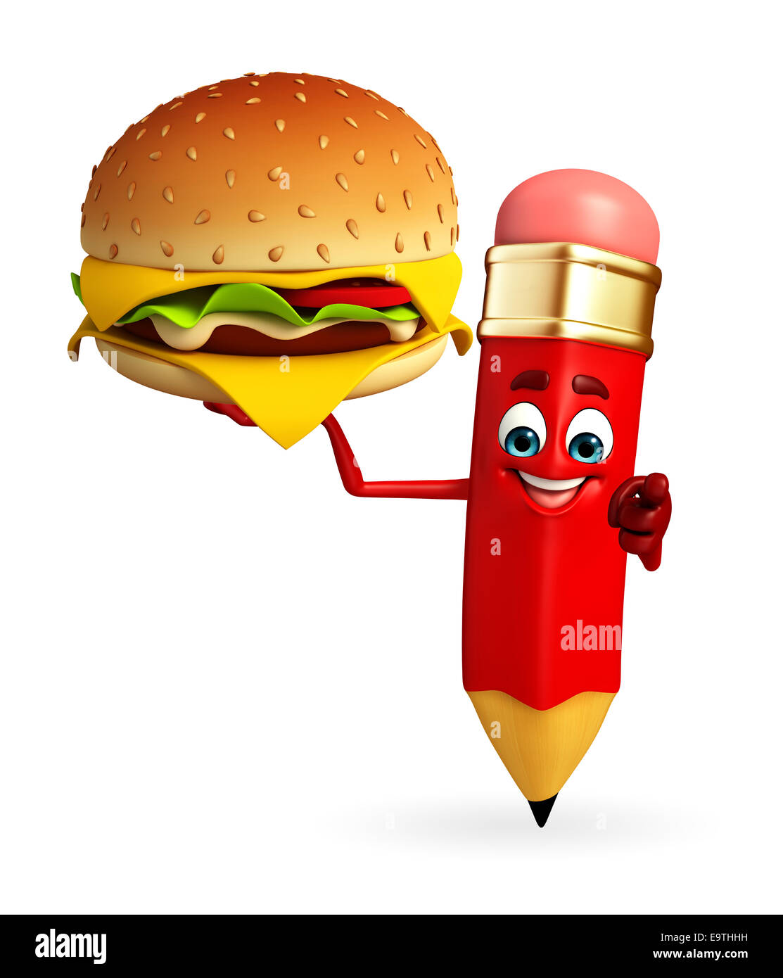 Cartoon character of pencil with burger