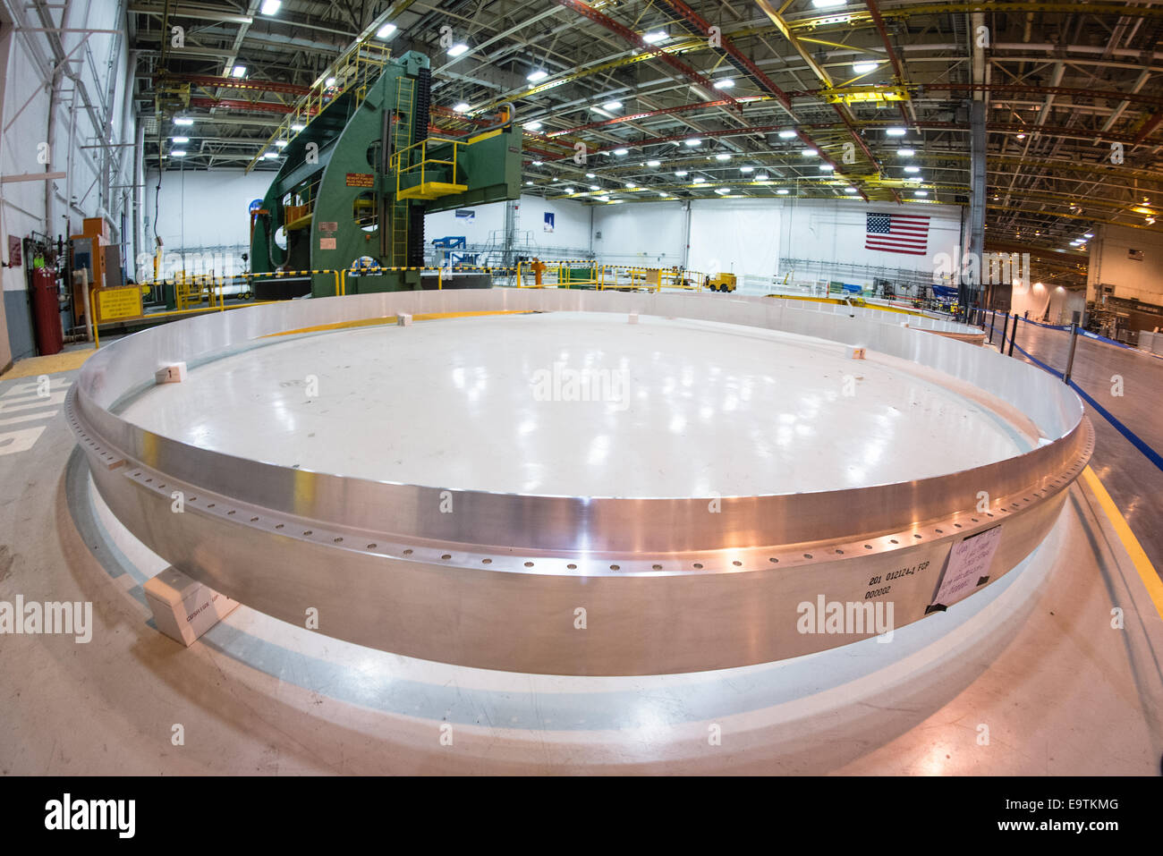 At NASA's Michoud Assembly Facility in New Orleans, all of the flight rings for the Space Launch System's - Stock Image