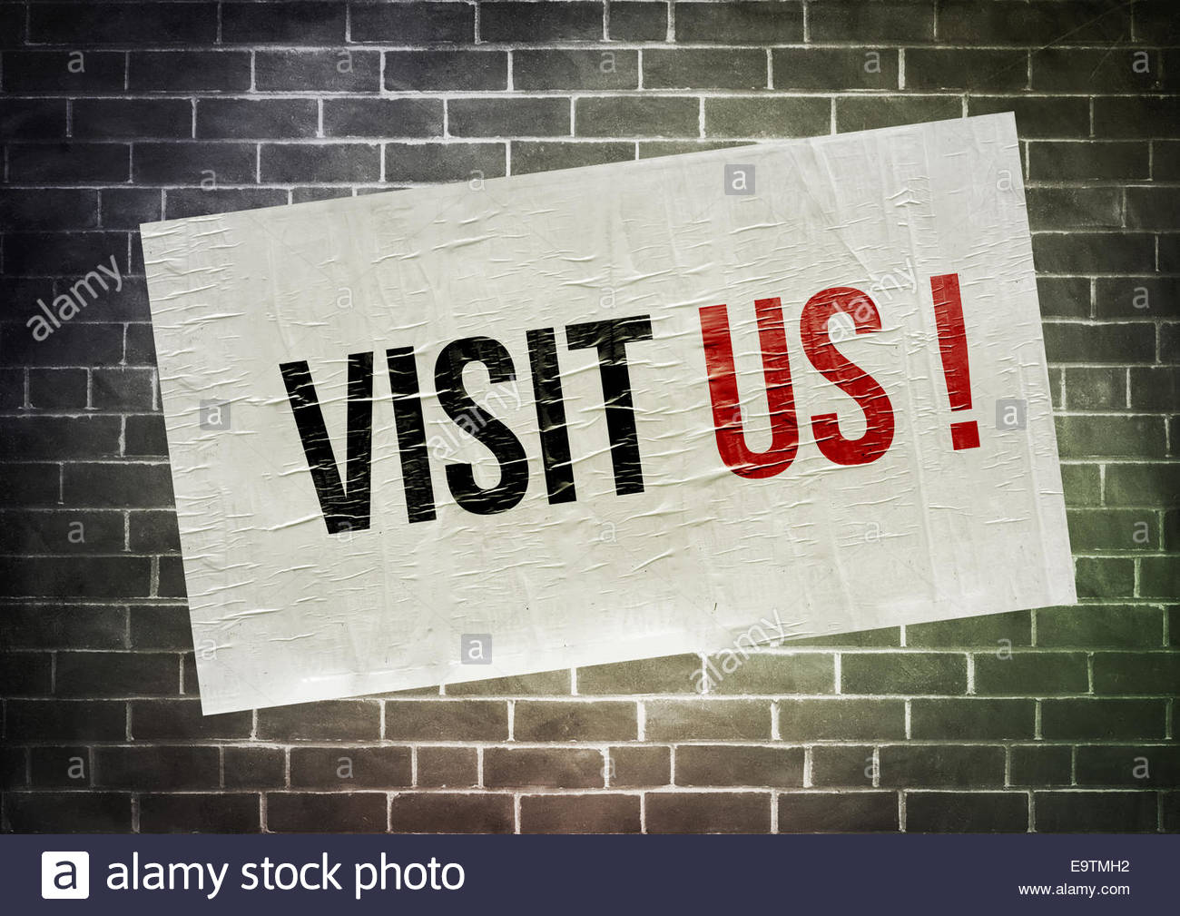 VISIT US - poster concept icon - Stock Image