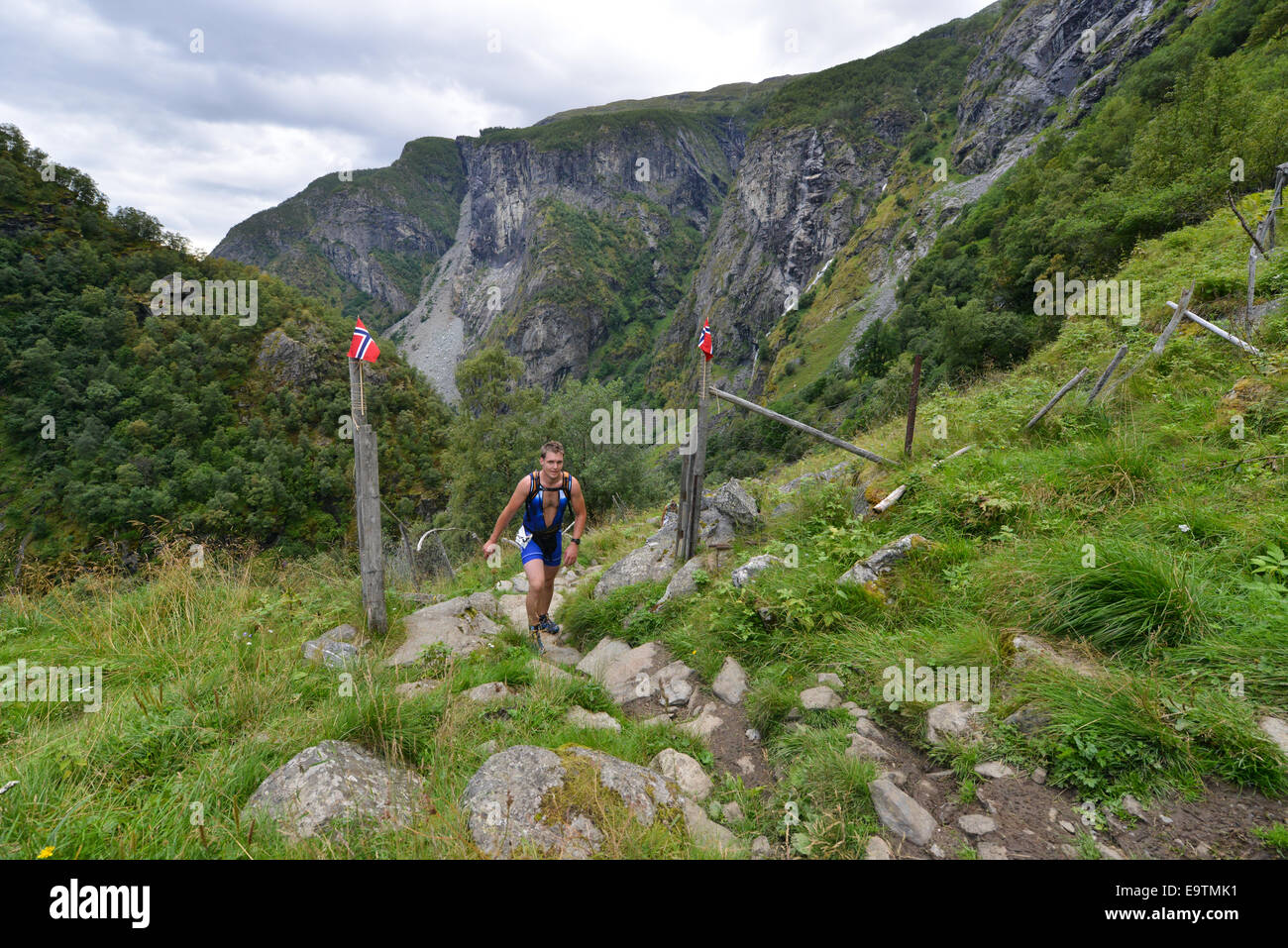 the scenic run up world heritage valley aurlandsdalen at stock photo