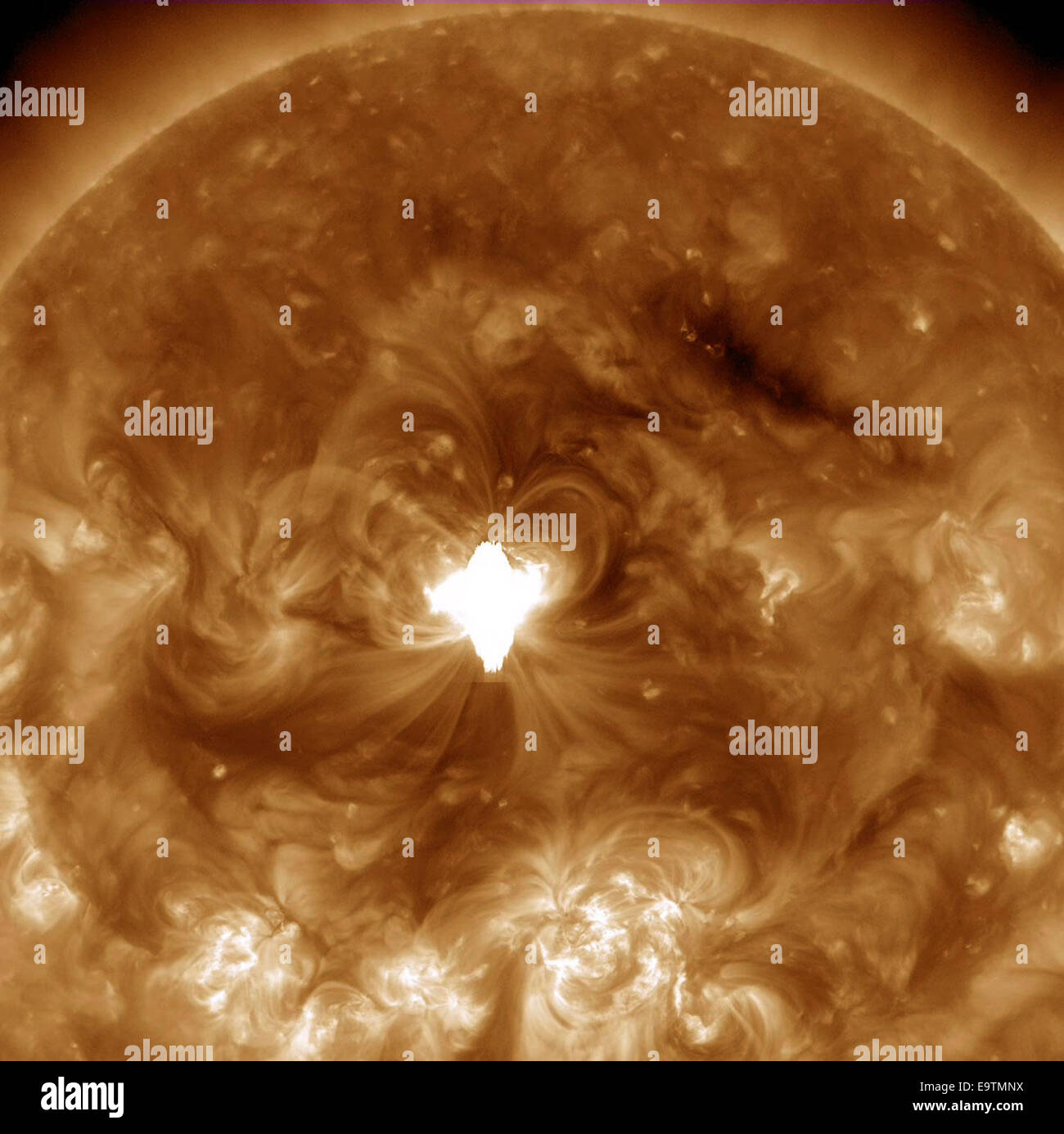 Earth-directed X-class flare - Stock Image