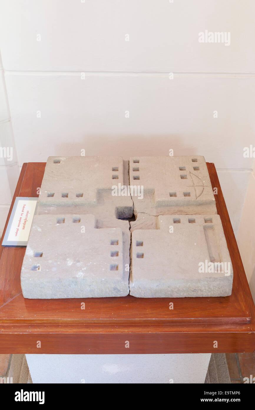 Pedestal for auspicious plaques, Phanom Rung museum, Thailand - Stock Image
