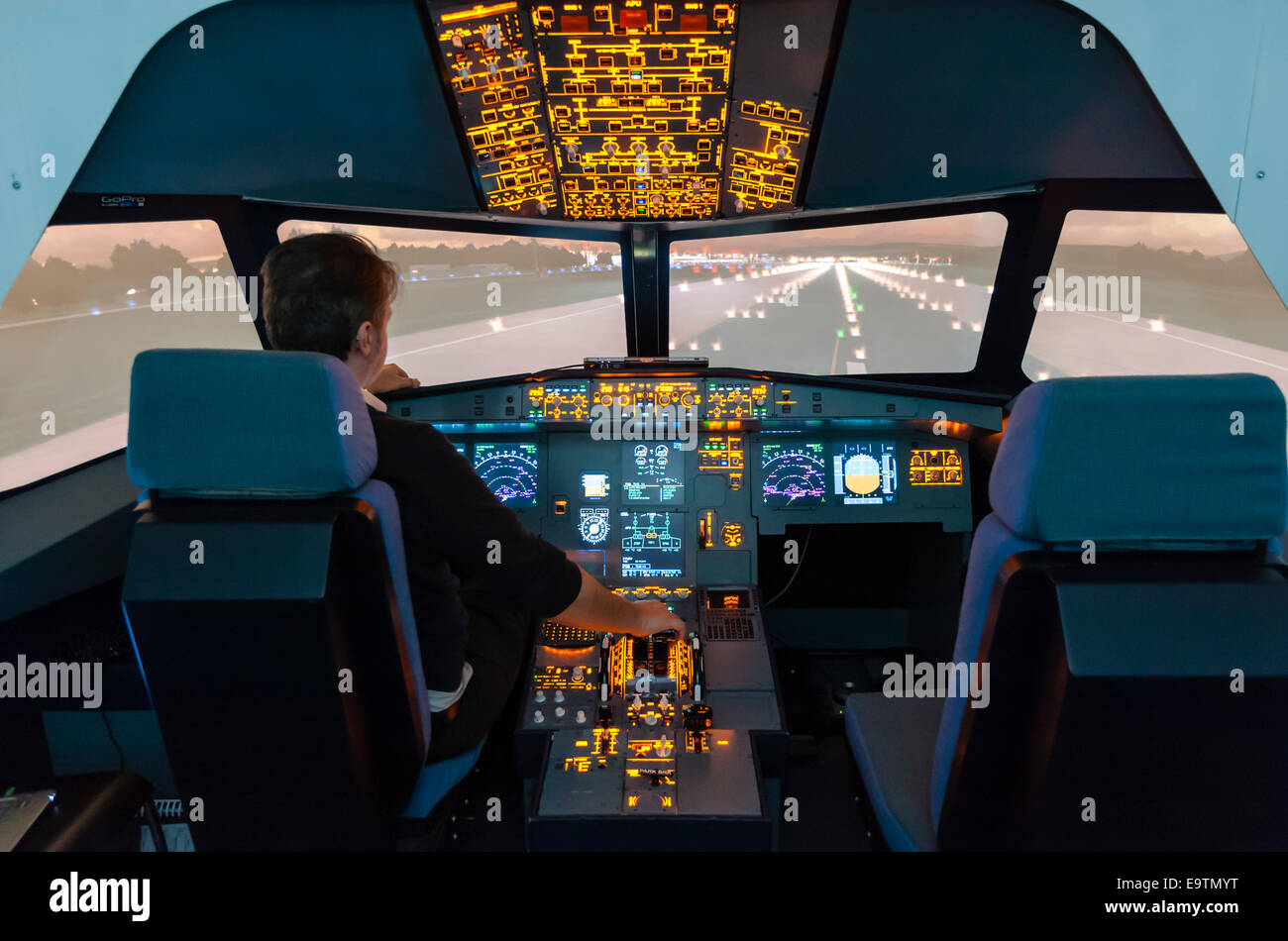Cockpit of an Airbus A320 flight simulator that is used for