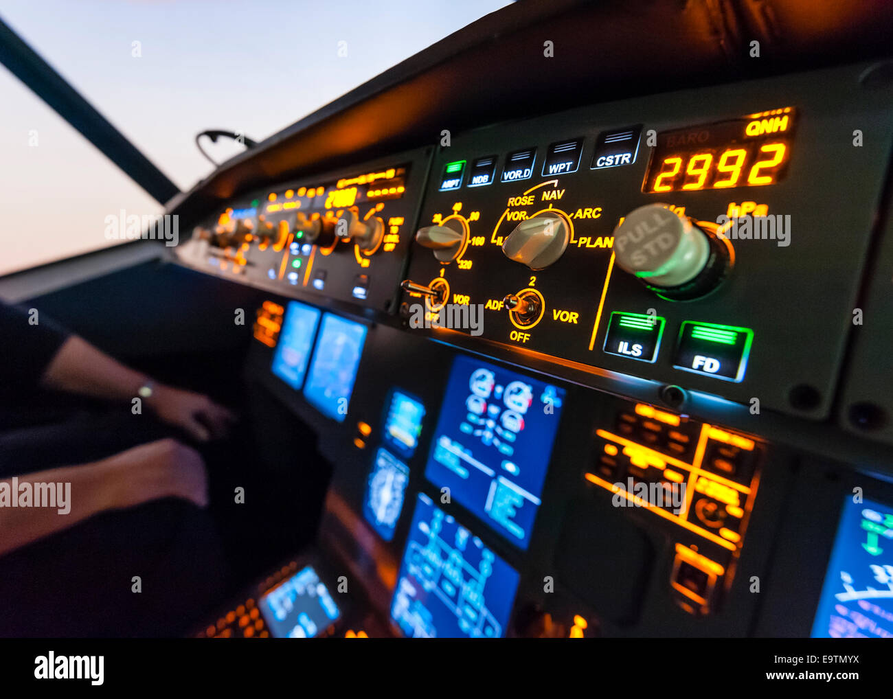 Cockpit of an Airbus A320 flight simulator that is used for training of professional airline pilots (detail: autopilot - Stock Image