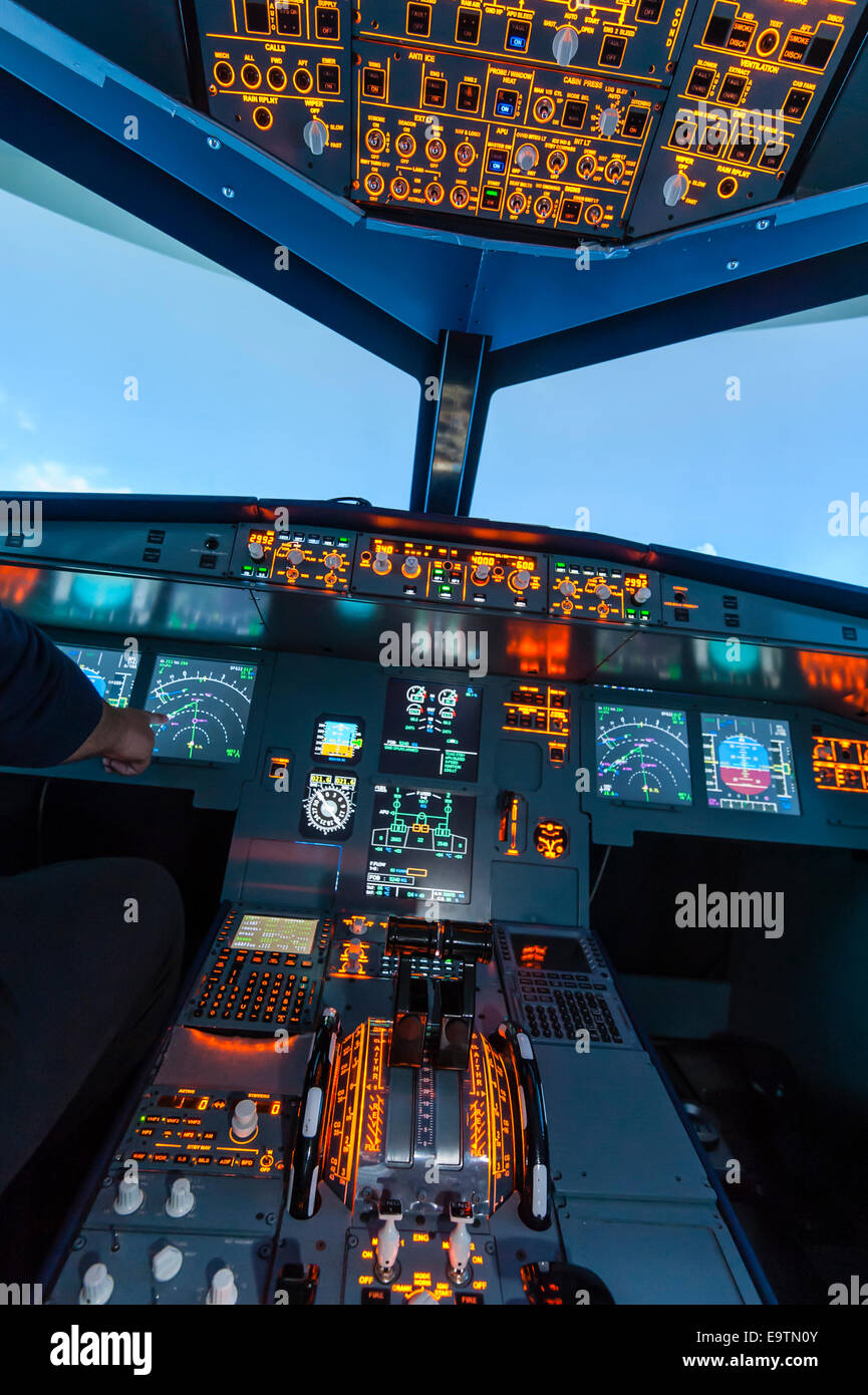 Cockpit of an Airbus A320 flight simulator that is used for training