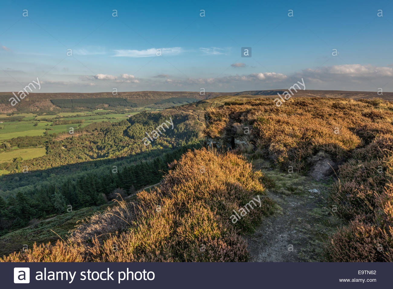 A view on Hasty Bank near Great Broughton village in North Yorkshire looking across tree covered hills and moorland. - Stock Image