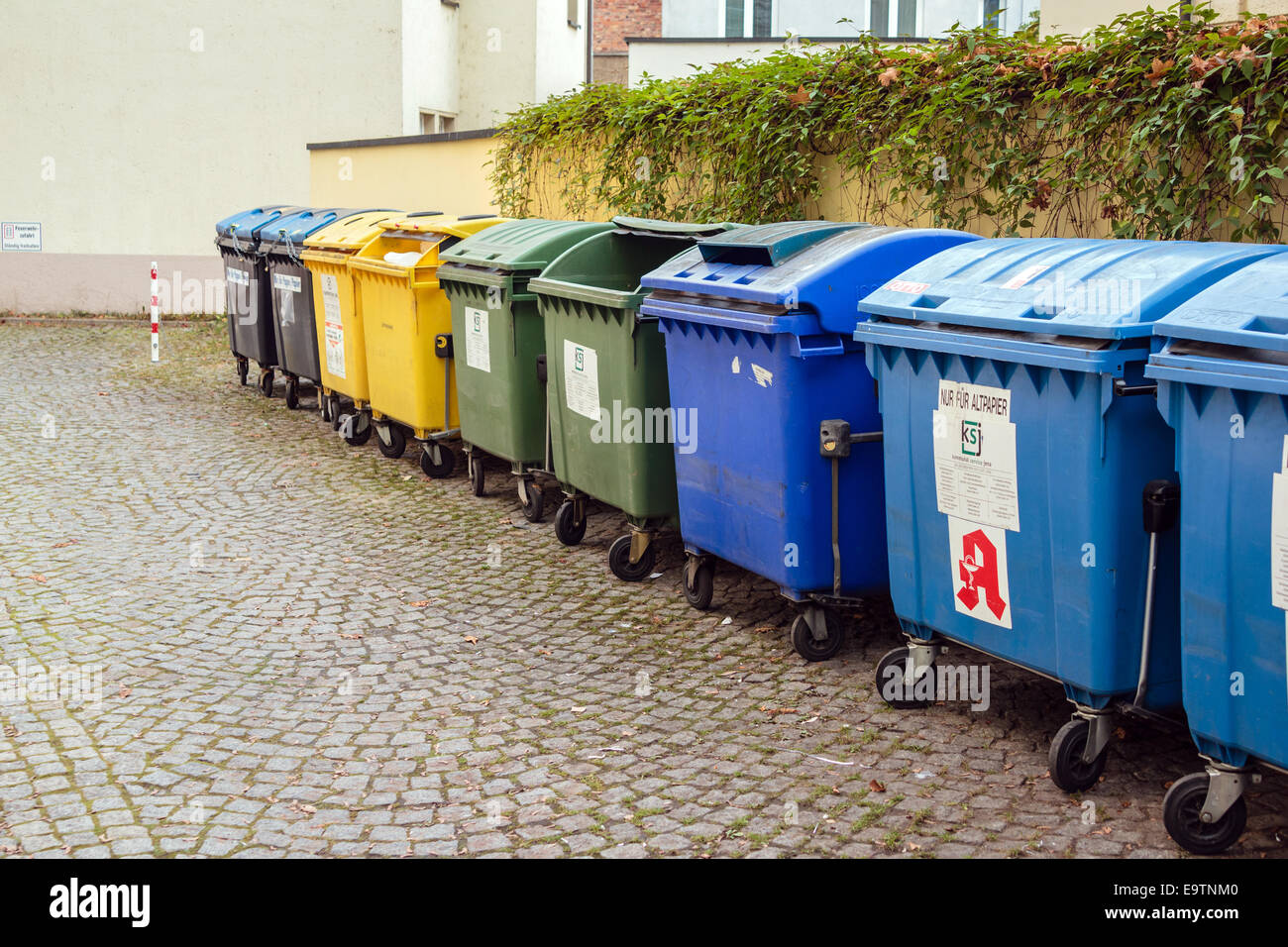 Recycling containers, Germany - Stock Image
